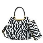 Kabelka + peněženka Zebra – bílá bílá