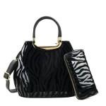 Kabelka + peněženka Zebra – černá