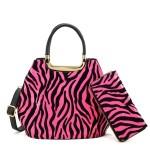 Kabelka + peněženka Zebra – růžová