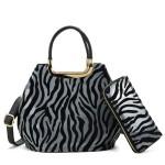 Kabelka + peněženka Zebra – šedá