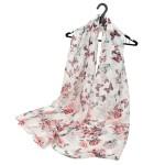 Šátek Butterfly Flowers – bílý