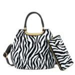 Kabelka + peněženka Zebra – bílá růžová