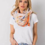Béžový a oranžový šátek s barevným potiskem