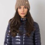 Tmavě béžová zateplená zimní čepice
