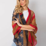 Červený a hnědý dámský šátek