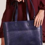 Tmavě modrá kožená nákupní taška