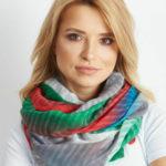 Zelený a červený ombre šátek
