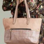 Nákupní taška z umělé kůže růžová