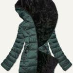 Krátká dámská zeleno-černá oboustranná zimní bunda (B9581-10)
