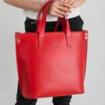 Dámská červená kožená taška