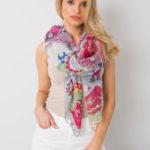 Dámský šedý a fuchsiový šátek s barevnými potisky