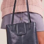 Šedá kožená kabelka pro ženy