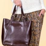 Nákupní taška z tmavě hnědé kůže