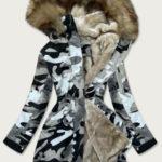 Šedá dámská maskáčová moro zimní bunda parka (B528-907)