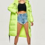 Neonově žlutá dlouhá zimní bunda z různých spojených materiálů (JIN-210)