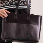 Černá kožená nákupní taška