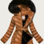 Lesklá zimní bunda v karamelové barvě s mechovitým kožíškem (W673)
