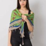 Zelený šátek s barevným potiskem