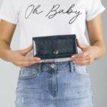 Podlouhlá kožená peněženka, tmavě modrá