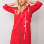 Červená plus size mikina na zip