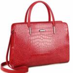 LUIGISANTO Červená taška s motivem krokodýlí kůže