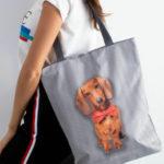 Šedá látková taška s psím potiskem