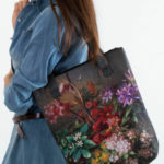 Taška s potiskem khaki květiny