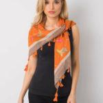 Oranžový šátek s barevným potiskem