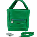 Zelená dámská kabelka vyrobená z ekologické kůže