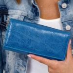 Dámská modrá peněženka s ušima