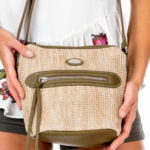 Dámská khaki kabelka s pleteným modulem