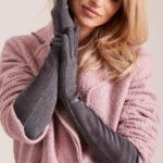 Dámské dlouhé rukavice tmavě šedé