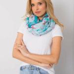 Modrý šátek s barevným potiskem