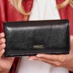 Černá dámská dlouhá peněženka z přírodní kůže