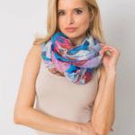 Dámský modrý a fialový šátek s barevnými potisky