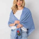 Dámský modrý šátek s nášivkami