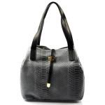 Kožená luxusní menší šedá kabelka Elen