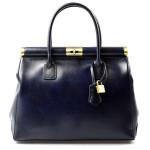 Kožená luxusní modrá kabelka Look