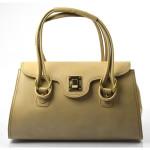 Kožená luxusní světlejší hnědá taupe kabelka Olgin