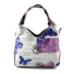 Krémová trendy kabelka s růžovým a fialovým vzorem Madona
