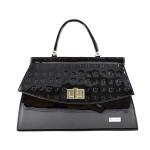 Černá lakovaná kabelka do ruky Belantis