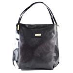 Černá lesklá kabelka na rameno Linda
