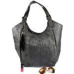Černo-šedá kabelka s krokodýlím vzorem Lomari