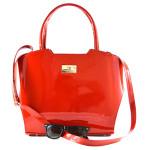Červená značková lesklá kabelka Red Princes