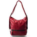 Elegantní sytě červená bordó volnočasová kabelka + batoh Sandra