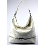 Elegantní velká bílá volnočasová kabelka Italy