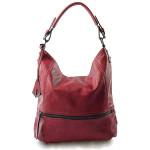 Elegantní velká červená bordó volnočasová kabelka Elegance
