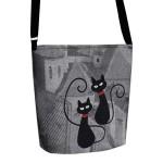 Filcová EKO kabelka Happy Cat II – šedá