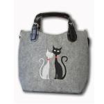 Filcová kabelka Black & White Cats in Love