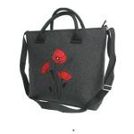 Filcová taška přes rameno Wild Flowers – černá